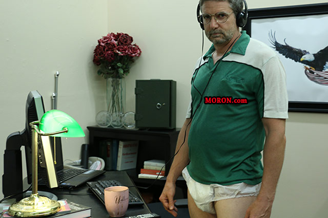 Man wearing adult diaper